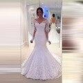 Халат де Mariage 2017 Sexy Backless Длинные Рукава Кружева Русалка Свадебные Платья 2017 Свадебное Платье На Заказ Vestidos де Novia