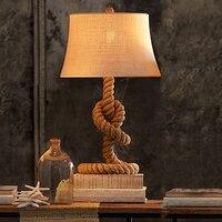 Американская сельская местность пеньковый Канат настольная лампа. Настольная лампа Ретро прикроватная тумбочка для спальни, Винтаж кафе