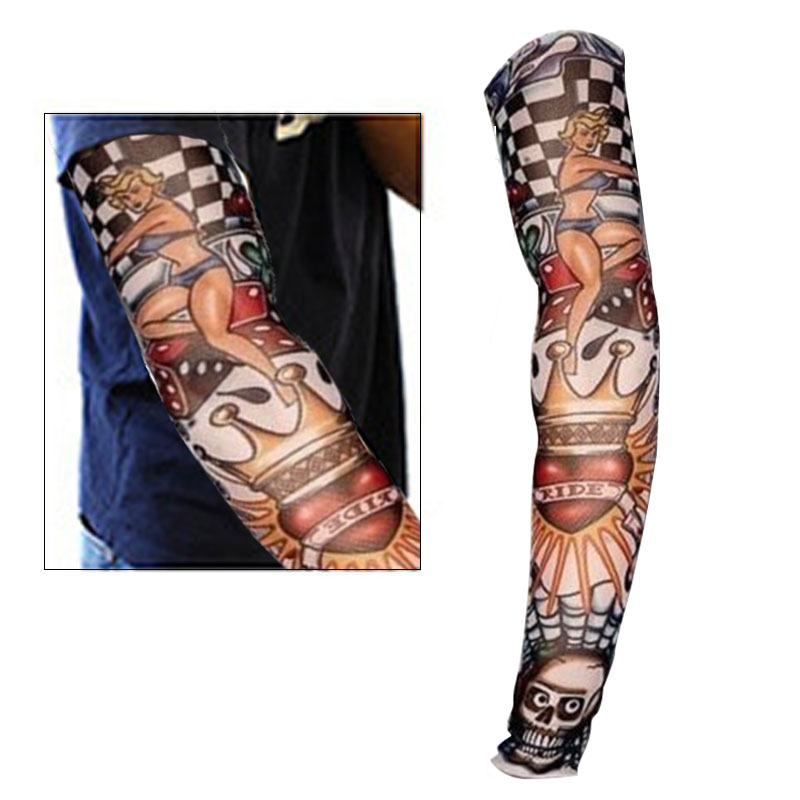 2 Pcs New Nylon Elastic Fake Temporary Tattoo Sleeve Designs Body Arm Stockings Tattoos For Cool Men Women TY53