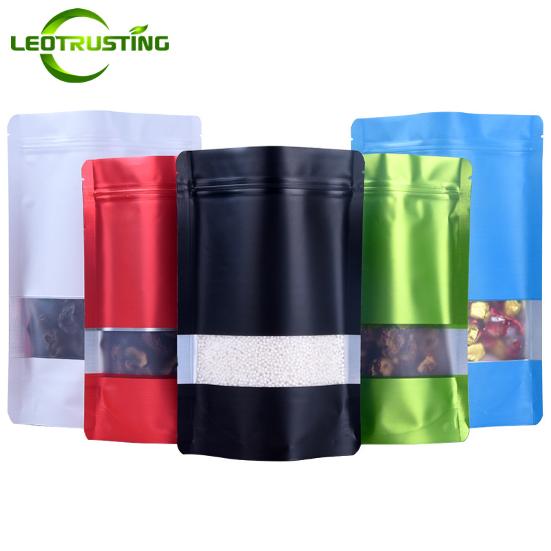 Leotrusting 50pcs/lot Stand Up Matt Aluminum Foil Window Ziplock Bag Doypack Coffee Powder Package Bag Frosted Window Gift Pouch