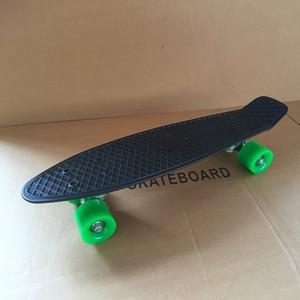 """Image 5 - פסטל פשוט צבע 22 """"סגנון סקייטבורד ילד קרוזר מיני פלסטיק דגי סקייט לוח עם גלגלים ירוקים"""