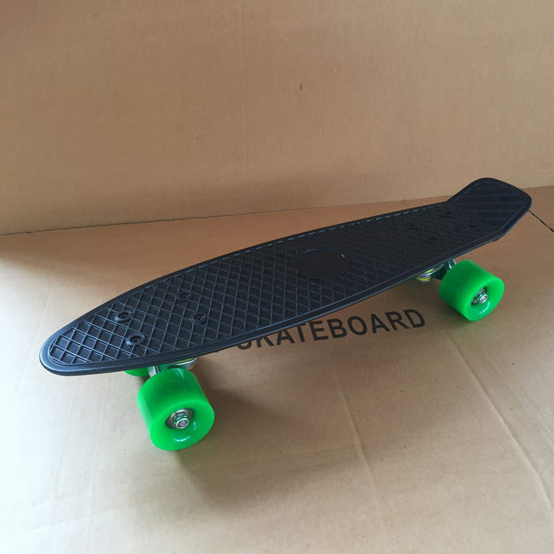 """Image 5 - Pastel Simple Color 22"""" Style Skateboard Child Cruiser Mini Plastic Fish Skate Board With Green Wheels-in Skate Board from Sports & Entertainment"""