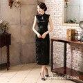 New Arrival Black Chinese Traditional Dress Women Satin Polyester Cheongsam Long Dripping Qipao Top Size S M L XL XXL XXXL