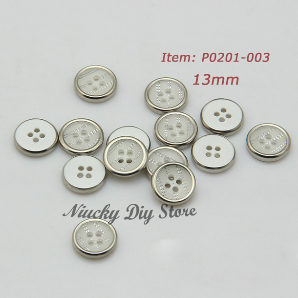 US $13 23 10% OFF|The newest 4 hole silver edge resin shirt buttons custom  shirt button sewing accessoires wholesale-in Buttons from Home & Garden on