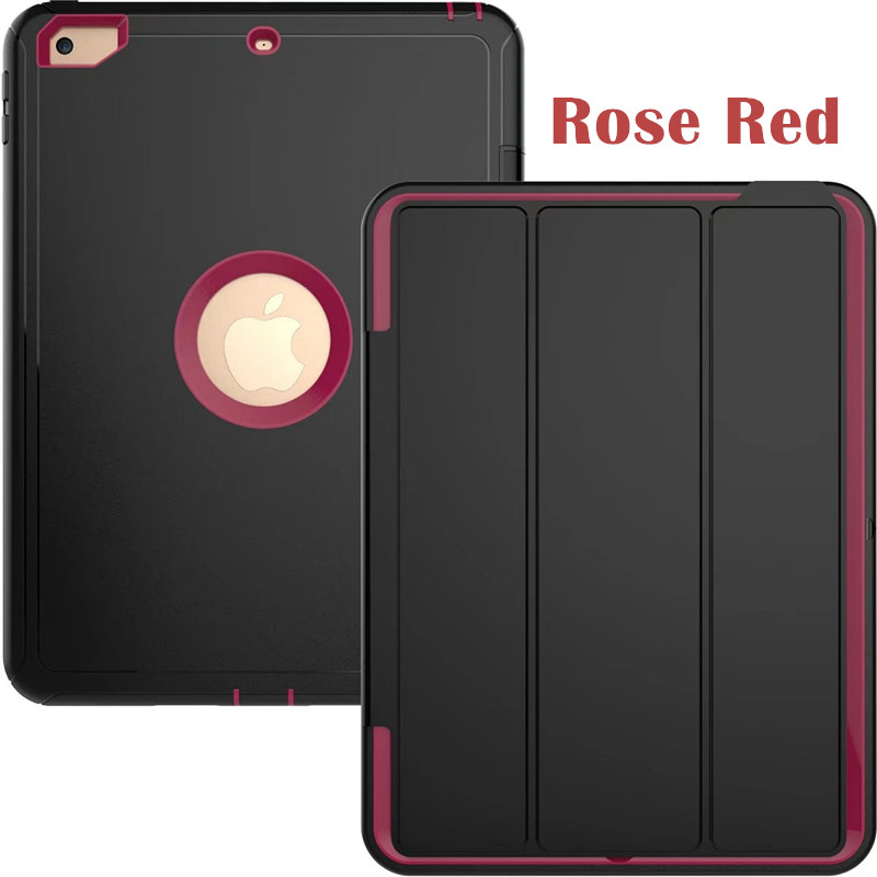 Rose red Heavy smart case with 3stand for iPad 9.7 (2017, 2018, A1822, A1893)