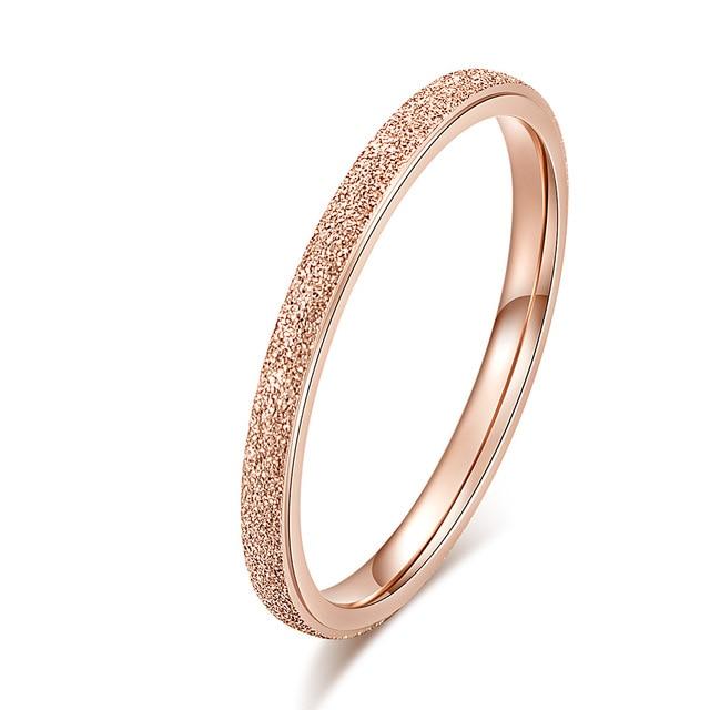 KNOCK Высокое качество модные простые скраб нержавеющая сталь женские кольца 2 мм ширина розовое золото цвет палец подарок для девушки ювелирные изделия - Цвет основного камня: 0000025