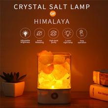 USB Night Light Himalayan Crystal Salt Night Lamp Crystal Rock Salt Air Purifier Desk Lamp Creative Table Lamp Bedroom Decor