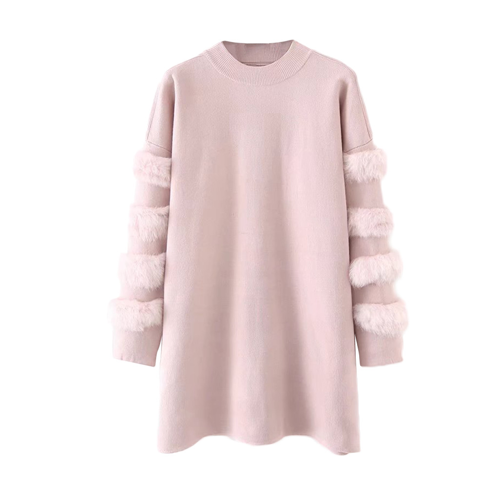 Feitong Solid Women Knitted Sweater Autumn Winte Real Fur Rabbit Hair Sleeve long Sweater jumpers Pullovers pull femme 2020