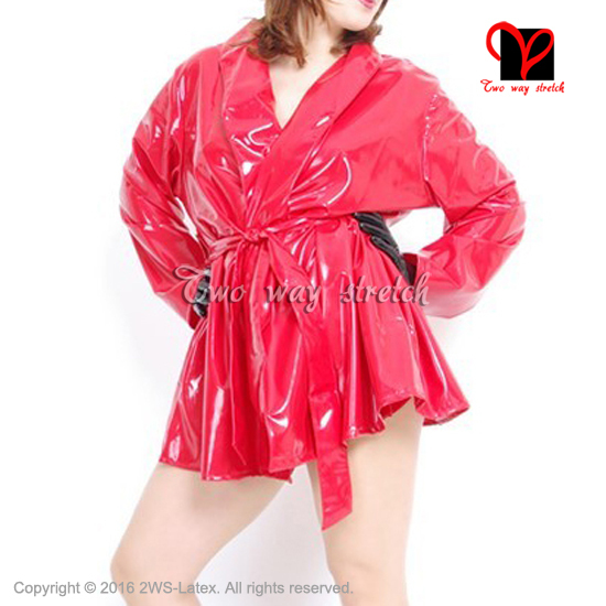ccbff7b30f Sexy Latex Bath Robe Lace Front Rubber Dressing Gown Red Bathrobe Sleepwear  belt Kimono Pajamas plus