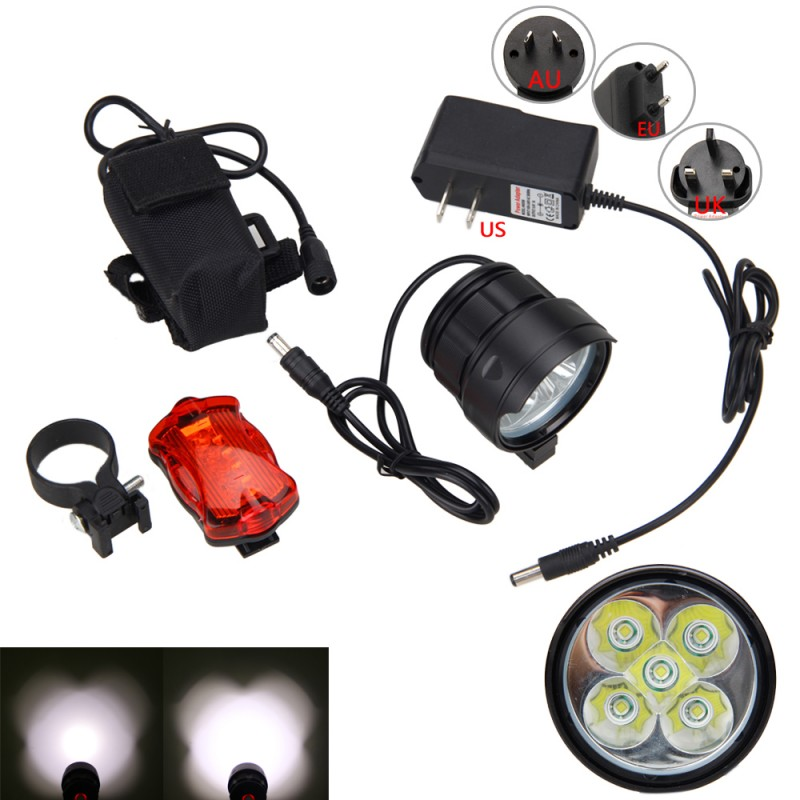 3 Modes <font><b>Bike</b></font> <font><b>Light</b></font> <font><b>15000</b></font> <font><b>Lumens</b></font> 5*XM-L T6 LED Front <font><b>Bike</b></font> Lamp +Rechargable 8.4v 6400mAh Battery Pack+Charger+Safety Rear <font><b>Light</b></font> image