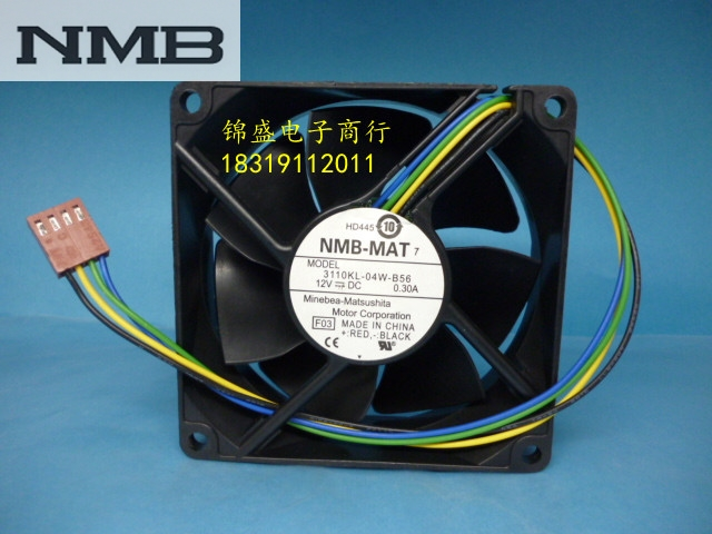 Original NMB 3110KL 04W B56 8025 DC 12V 0.30A 4 wire PWM temperature ...