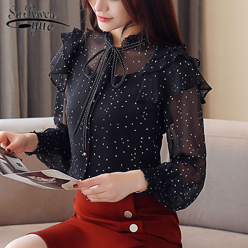 Spring Fashion New Women's Chiffon   Blouses     Shirt   Polka Dot Long Sleeve   Shirt   Woman Tops blusas feminias   blouse   2136 50