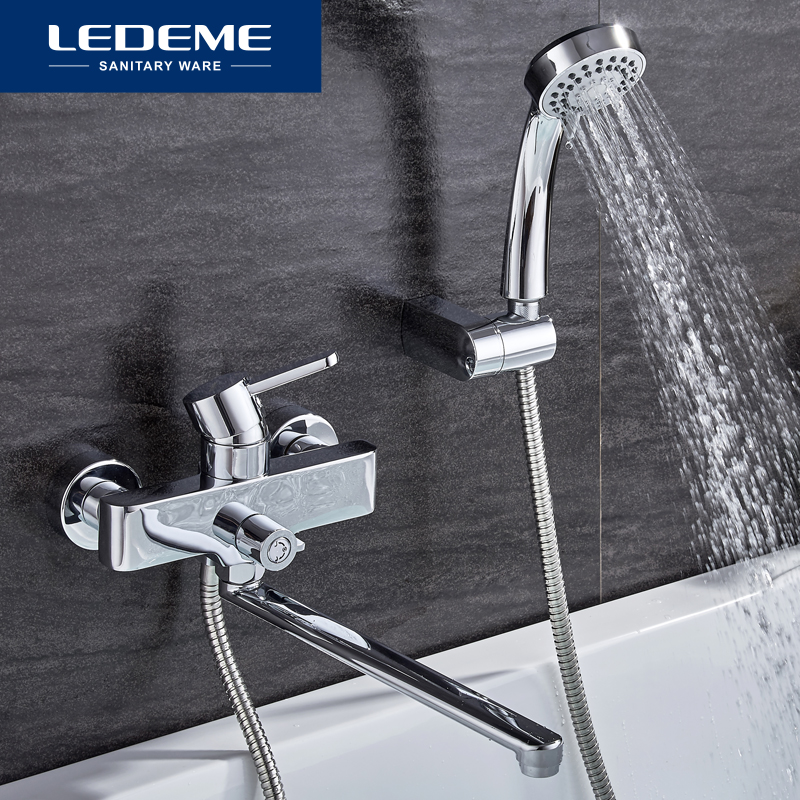 LEDEME Bathroom Bathtub Faucets Shower Set Mixer Tap Shower Hand Sprayer Wall Mounted Bath Bathtub Faucet Single Handle L2271 цена 2017