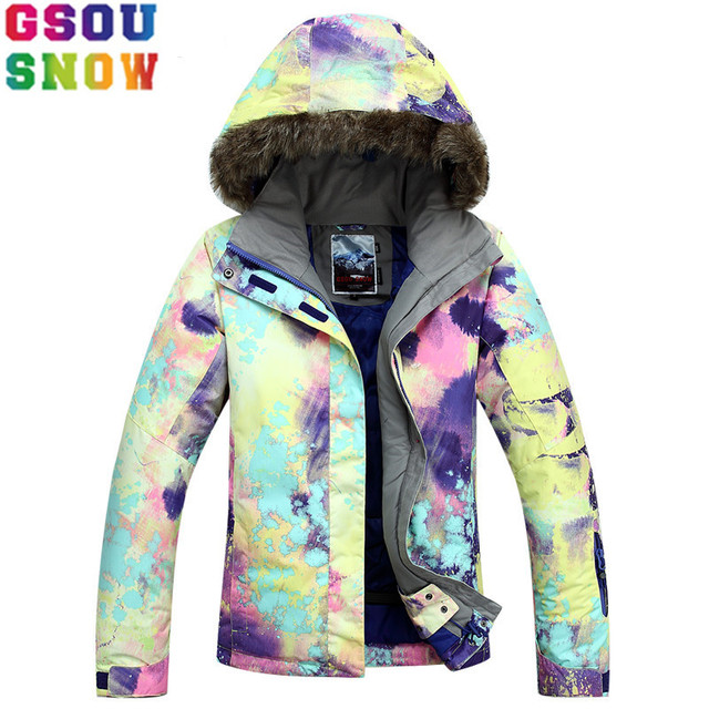5908561202a0e GSOU SNOW Brand Ski Jacket Women Snowboard Jacket Waterproof Fur Hooded  Winter Outdoor Skiing Snowboarding Sport