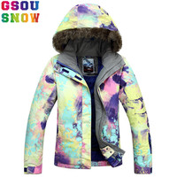 Gsou Snow Brand Professional Women Ski Jacket Thicken Warmth Fur Hooded Snowboard Jacket Thermal Breathable Waterproof