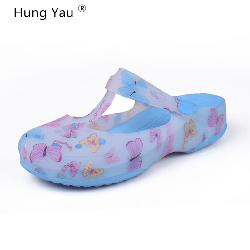 Hung Yau Women Multicolor Garden Shoes Woman Summer Style Clogs Beach Flat Sandals Famous Brand For Women High Quality Size US 8