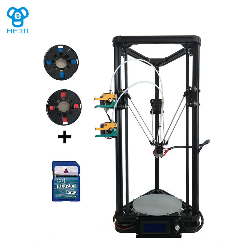 Newest K200 dual extruder delta DIY 3D printer HE3D reprap large printing size 400g filaments for