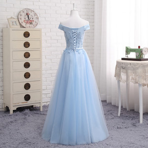 Image 2 - JFN # à lacets robe longue bleue de demoiselle dhonneur, épaules dénudées, mi courte, sur mesure, robe de bal, tenue de toast, nouvelle collection 2018