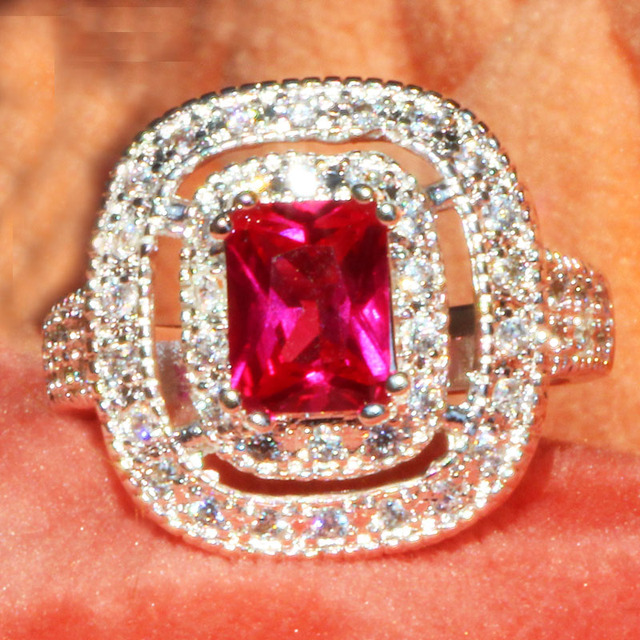 YaYI Fashion Women Jewelry Ring Red Zircon CZ Silver Color Engagement Rings wedd