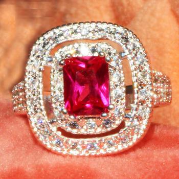 YaYI moda kobiety biżuteria pierścionek czerwony cyrkon CZ kolor srebrny pierścionki zaręczynowe obrączki ślubne pierścienie Party pierścionki prezent tanie i dobre opinie Platinum plated Prong ustawianie Zaręczyny HR297 Romantyczny Geometryczne Zespoły weselne yayi jewelry Cyrkonia 18 5mm
