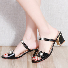 2019 Summer Women Sandals Fashion Brand Shoes Black White Red Square Heels A1089
