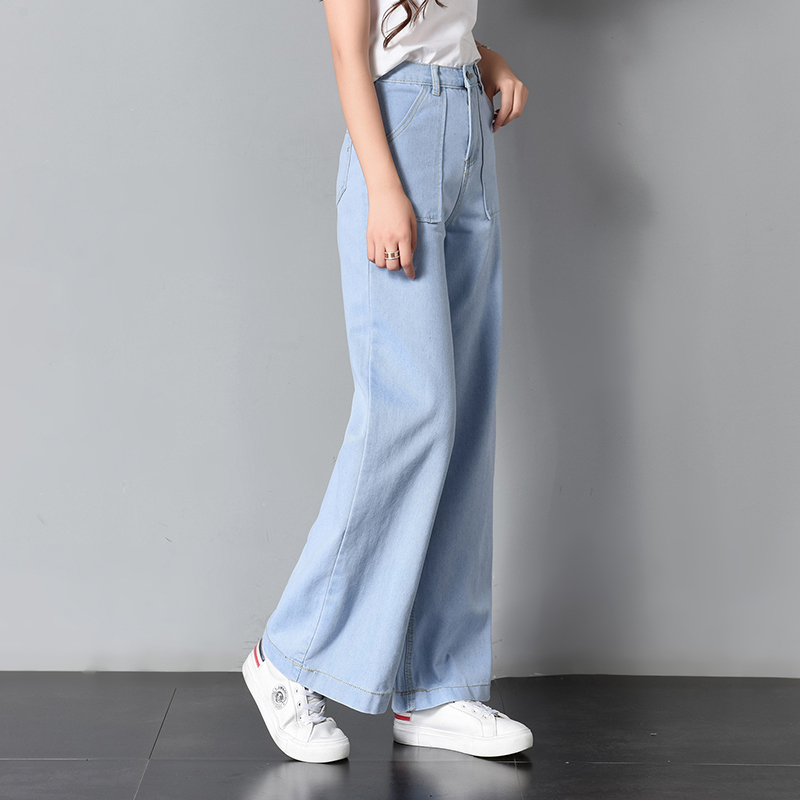 Fashion Women Denim Trousers Korean Casual Cute   Pants   Kpop High Waist Jeans Harajuku Street   Wide     Leg     Pants