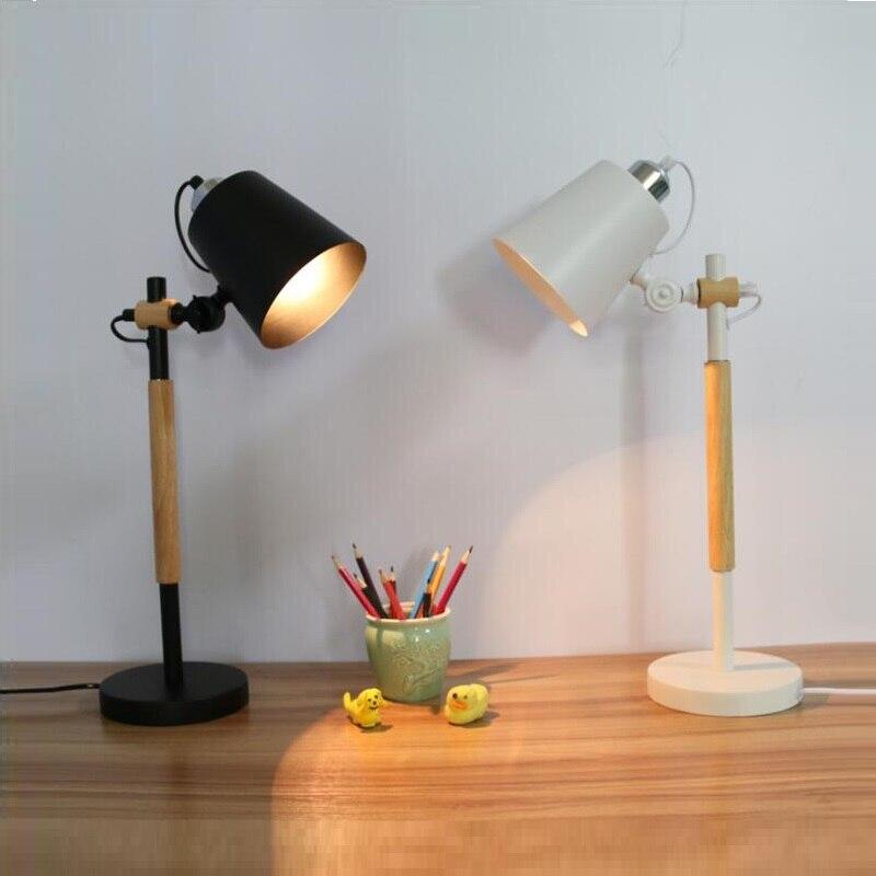 Lampe de Table LED moderne avec abat-jour en métal pour chambre à coucher lampes de chevet blanches lampes de bureau noires lampes de lecture en bois Luminaria moderne