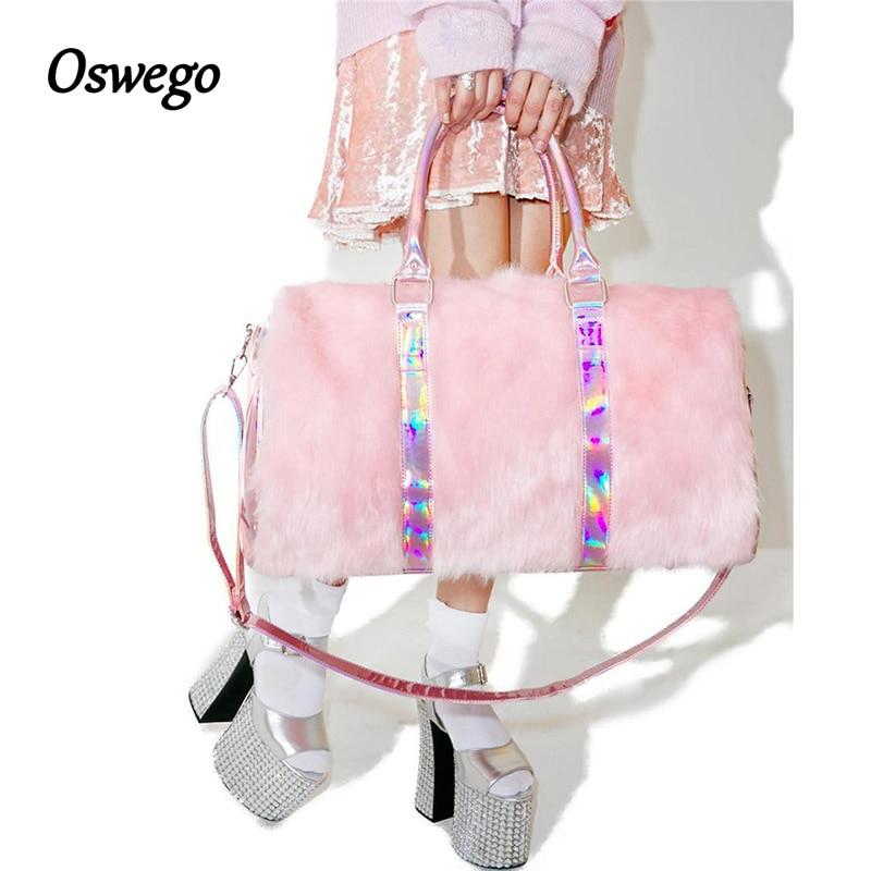 46de75f9be4a Oswego Rainbow Laser Sacs À Main Doux Rose Fausse Fourrure Femmes ...