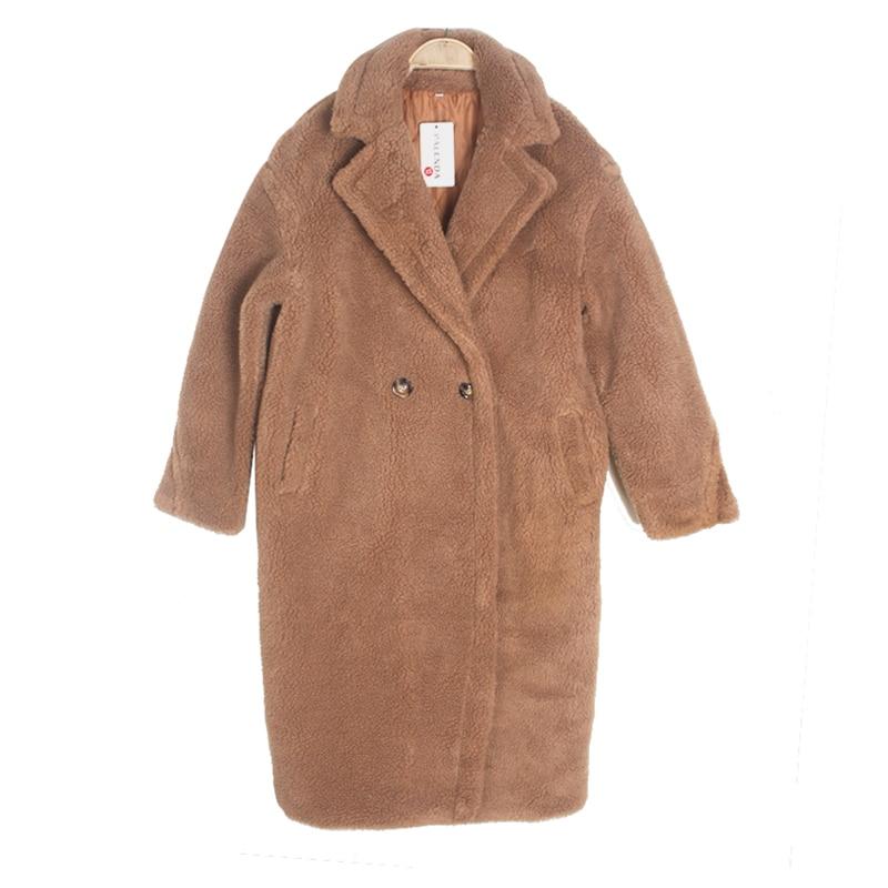 Faux de fourrure chaud épais bouclés teddy manteau nouvelle collection mode tendance hiver femelle vêtements oversize avec sous brise-vent brun