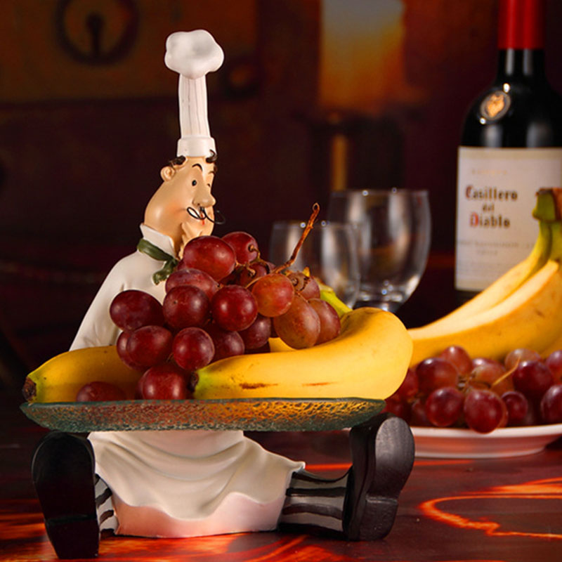 Chef and Dish Creative Resin Glass Figurine Fruits and Candies Plate Decorative Kitchen Cafe Cook Gift Statue Tray Craft QZHF10
