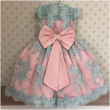 Lace Pearls Pink Blue Flower Girl Dress Long pageant dresses for kids communion Dresses kids Birthday Gowns Baby Girls Clothes недорого