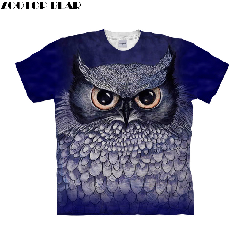 Anime Owl t shirt 3d t-shirt Men Women tshirt Summer Tee Streetwear Top Anime Camiseta Short Sleeve Tee Drop Ship ZOOTOP BEAR