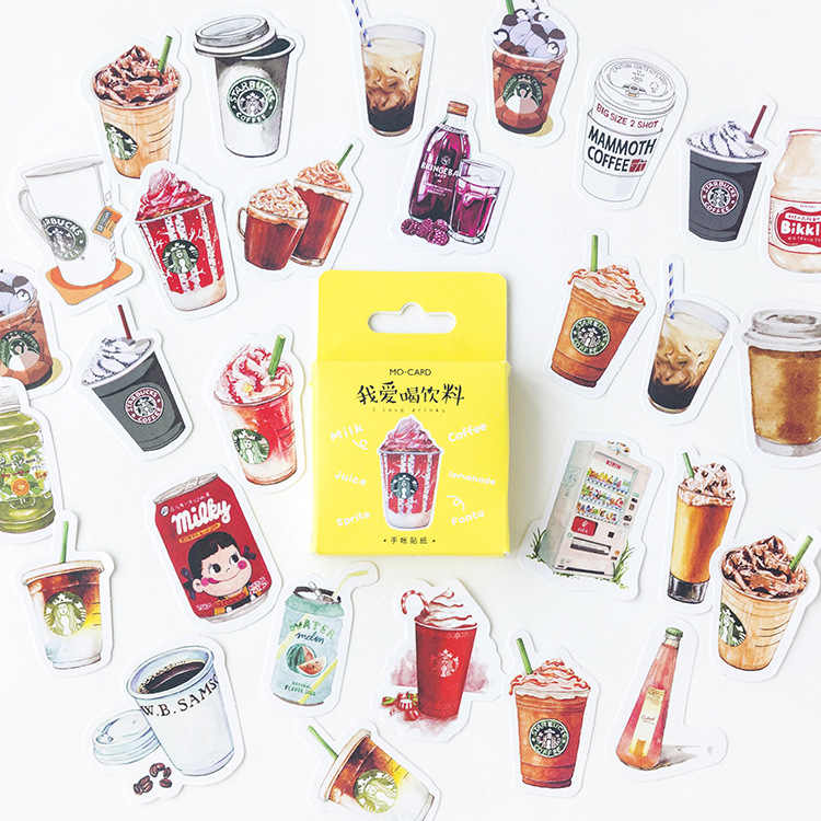 11.11 New 40 Pcs/Pack I Love Drinks Cute Diary Flower Stickers Stationery Sticker Childent Supplies Paper Sticker Beauty Gift