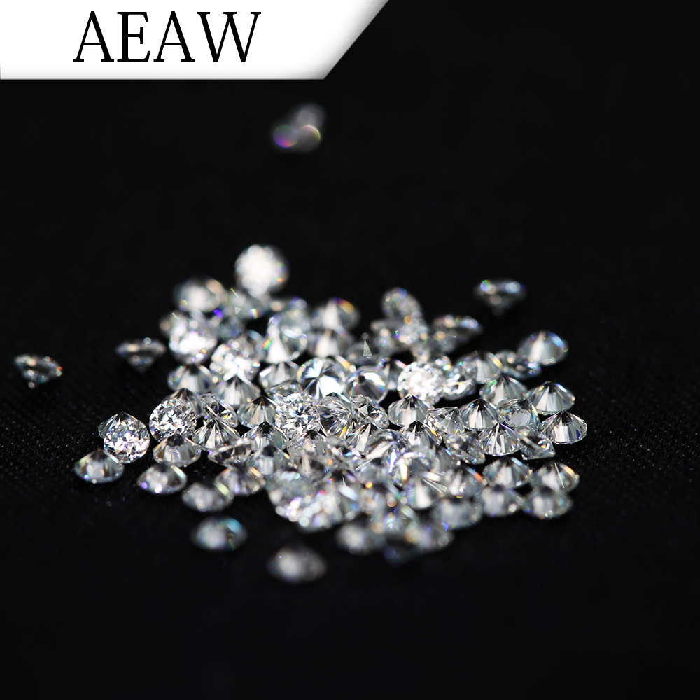 AEAW 2.0mm Total 1 CTW carat F Color Certified Lab Grown Moissanite Diamond Loose Bead Test Positive Similar to Forever One