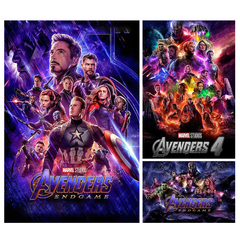 Avengers Endgame Posters and prints The Avengers 4 2019 Hot New Superhero Movie Art Silk Painting bedroom decor
