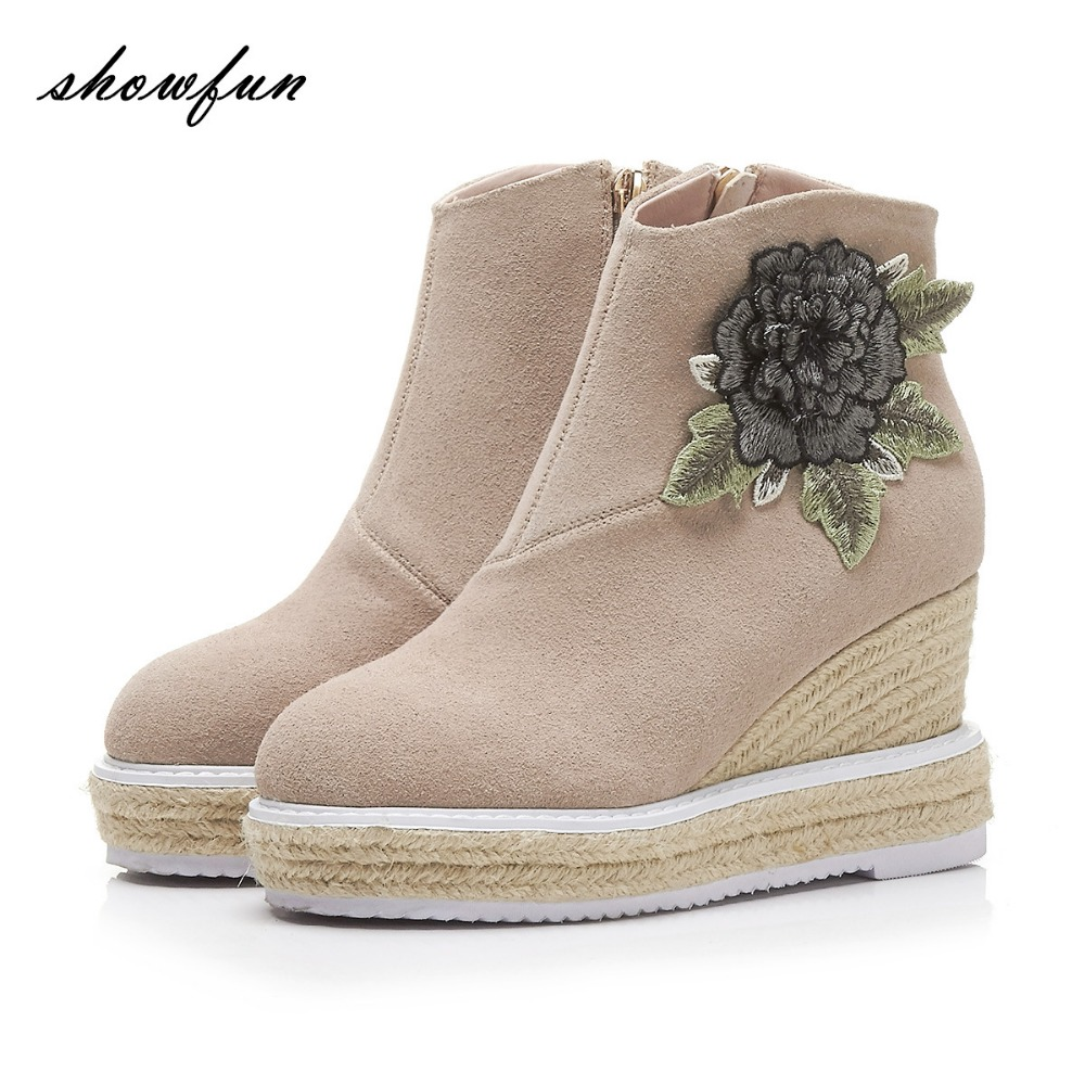Womens Genuine Suede Leather Applique Flower Wedge Platform Autumn Ankle Boots Brand Designer Hemp High Heeled Shoes Booties