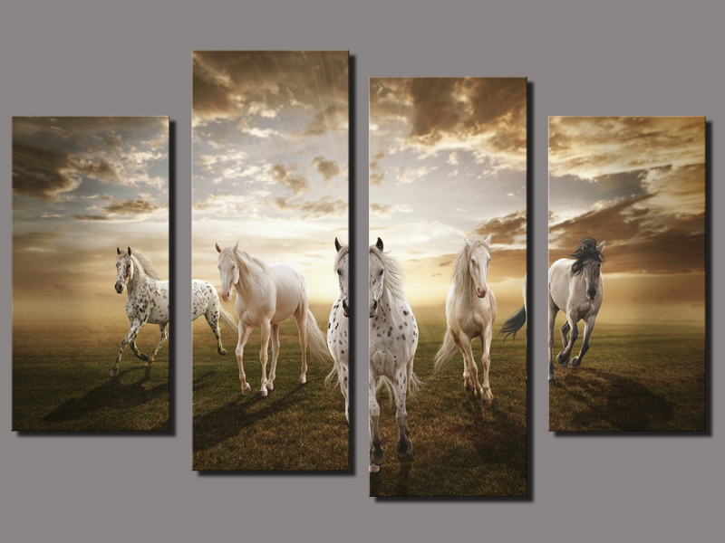 Large Wall Art For Living Room No Framed 4 Panel Running Horse Large Hd Decorative Art