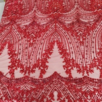 chiffon hand craft appliqued lace fabric with diamonds and beads hot sale products 2019 high grade elegant classical lace