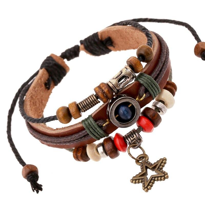 Vintage Star Bead Bracelet Woven Punk Leather Bracelet For Men Jewelry Ethnic Style Multilayer Braid Wrap Bangle