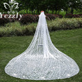 Real Pictures One Layer Crystal Cathedral Wedding Veils With Comb White/Ivory Flowers Bridal Veils Voile Mariage WB33