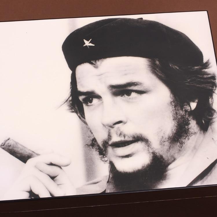 CHE Guevara Klassieke Stijl Zwart Cederhout Sigaar Humidor Voor 20 30 Sigaren Opbergkast Sigaar Box W/ hygrometer Luchtbevochtiger - 4