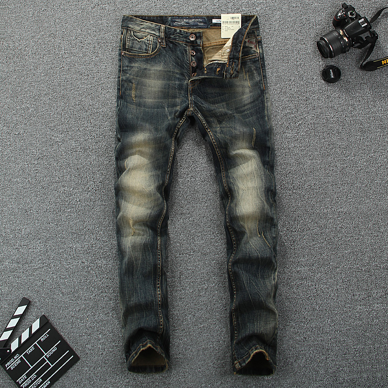 Nostalgia Retro Men Jeans High Quality Vintage Stripe Jeans Mens Pants Slim Fit Stretch Trousers Buttons Skinny Biker Jeans Men classic mid stripe men s buttons jeans ripped slim fit denim pants male high quality vintage brand clothing moto jeans men rl617