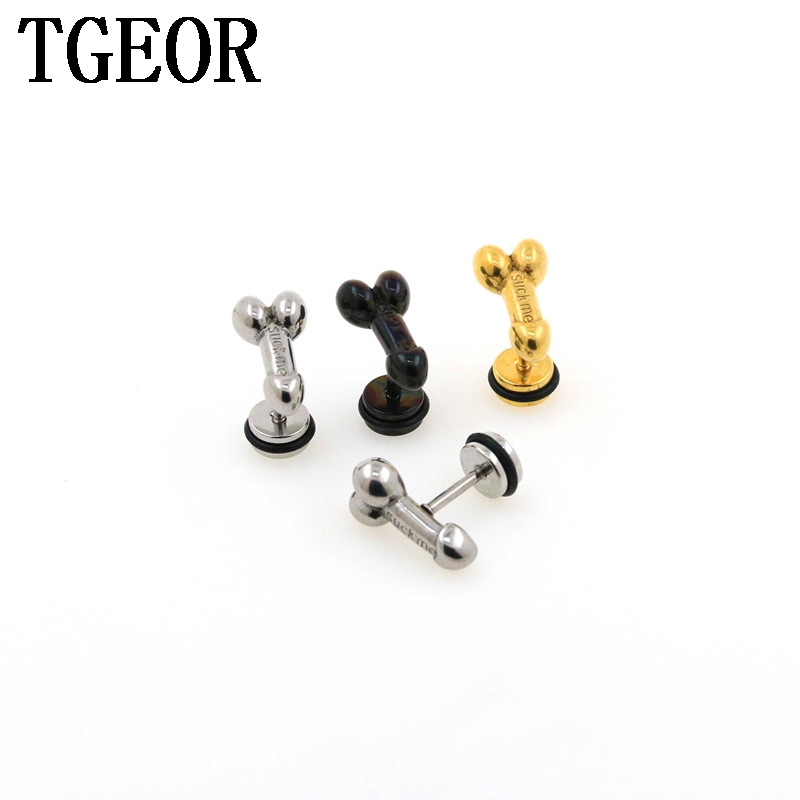 new arrival ear piercing fake earring 1 pair 16G surgical Stainless Steel penis shape fake plug Пирсинг ушей