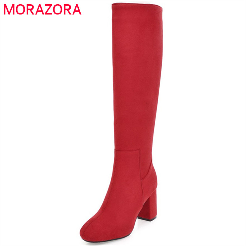 MORAZORA 2018 Autumn winter knee high boots fashion shoes woman high heels boots PU nubuck leather zip solid womens boots