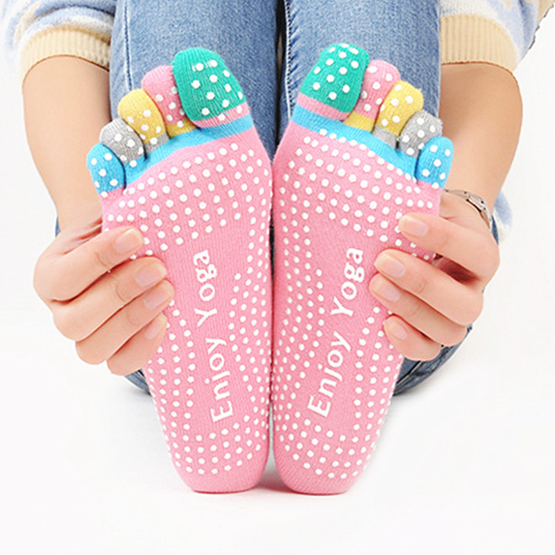 Pilates 5 Toe Non Slip Grip Socks Fitness Women Antiskid Professional Soft Cotton Five Fingers Socks Silicone Massage Socks