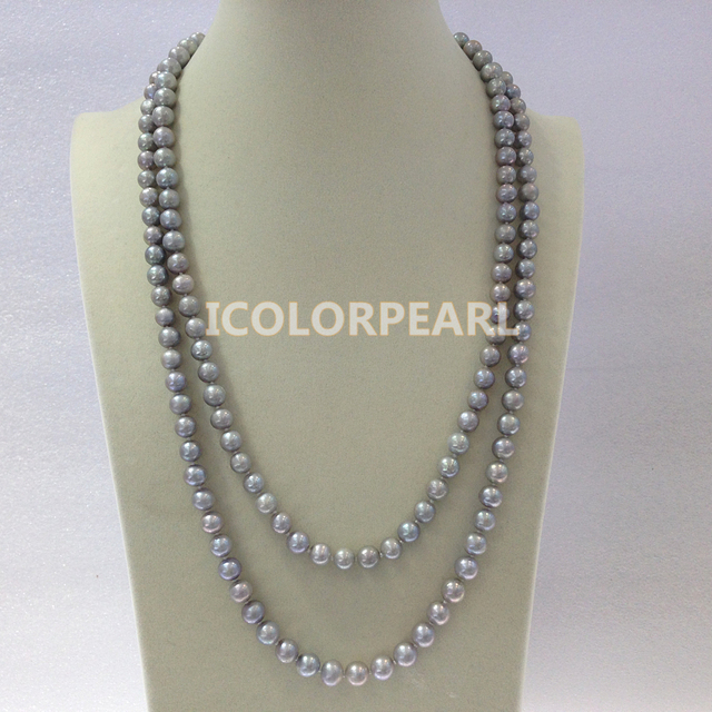 About125CM Long 7-8MM Nearround Grey Natural Freshwater Pearl Sweater Necklace. Free shipping!