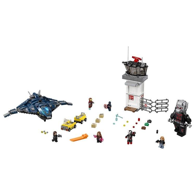 Modele de Blocs De Construction 07034 Compatible avec Super Heros Avangers L'aeroport Bataille 76051 Modele Jouets Educatifs