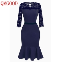QMGOOD Lace Spliced Navy Blue Dress Women Elegant Party Prom Pencil Dresses Lace Sleeve 3 4