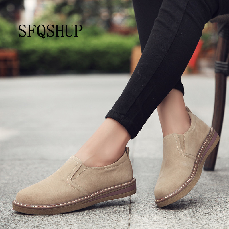 vast selection save off buy best US $17.82 39% OFF|2019 Spring women flats sneakers shoes women slip on flat  loafers suede leather shoes handmade boat shoes black oxfords-in Women's ...