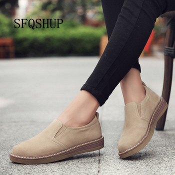 цена на 2020 Spring women flats sneakers shoes women slip on flat loafers suede leather shoes handmade boat shoes black oxfords